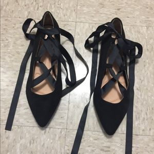Lane Bryant ballet lace up flats.